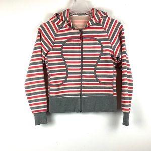 Lululemon- stripe zip up hooded scuba sweater